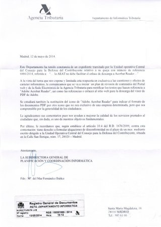 contestacion AEAT 213x300 Exigir formatos abiertos mediante la Ley 11/2007