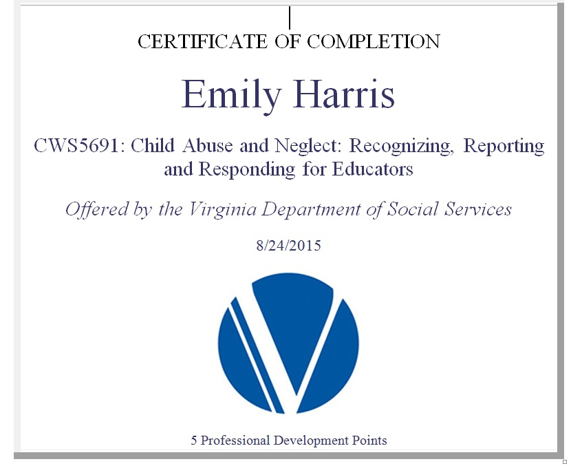 Child Abuse Course Completion Certificate Emily Harris