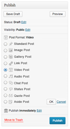 Post Format Switching - radio button option