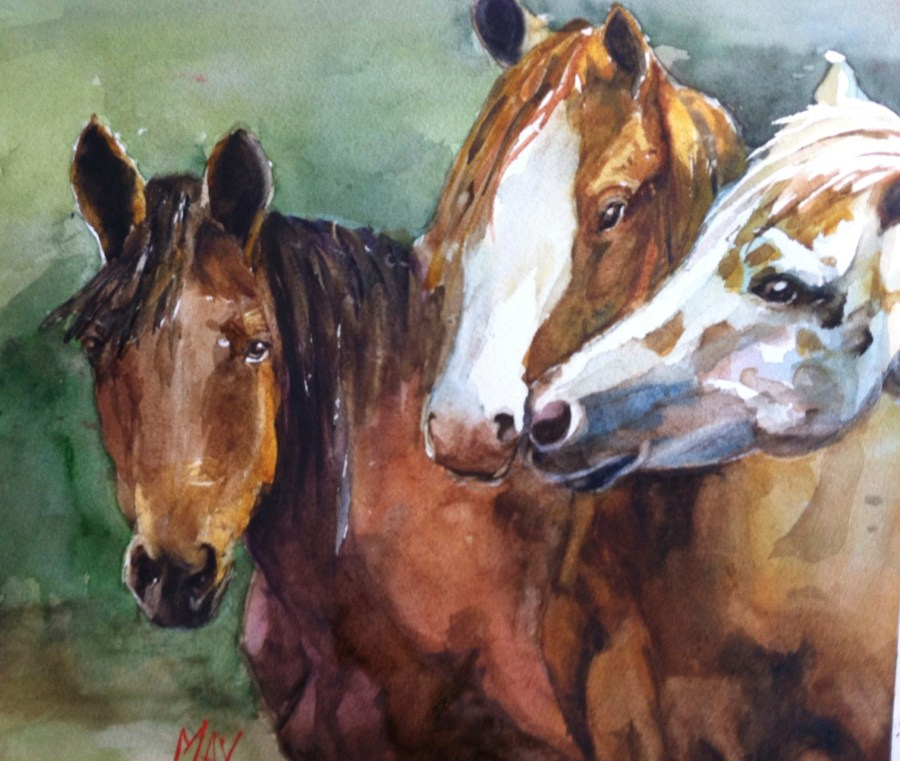 Rande-May-Watercolor-Horsing-Around