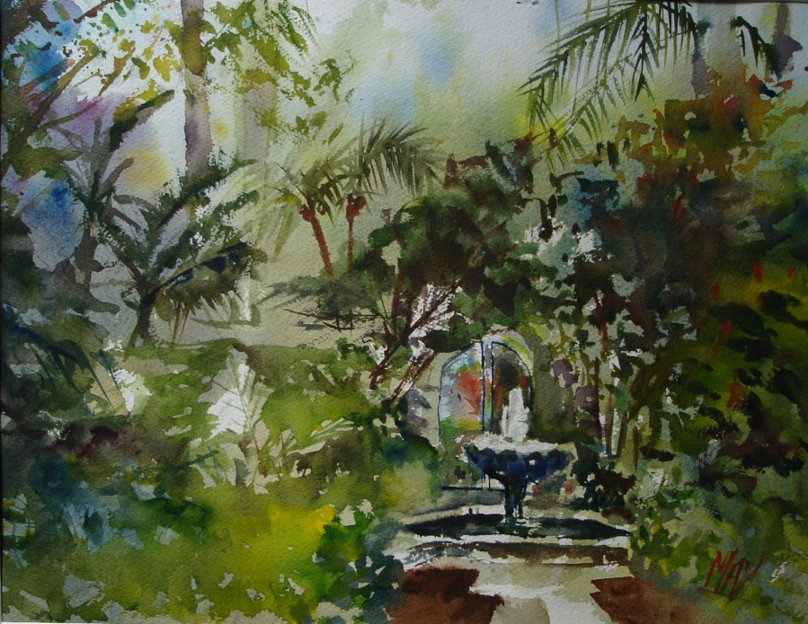 Rande-May-Watercolor-Four-Arts-Society-Fountain