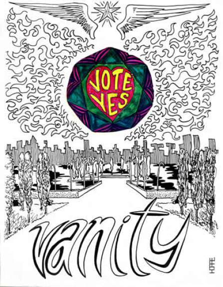 OIC's Vanity zine cover. (Ink and marker on bristol)
