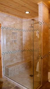 Custom tile and glass shower.
