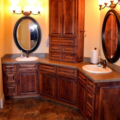 Master bathroom with custom cabinetry.