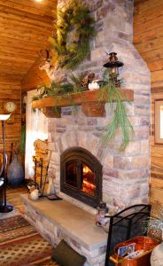 Custom fireplace and hearth.