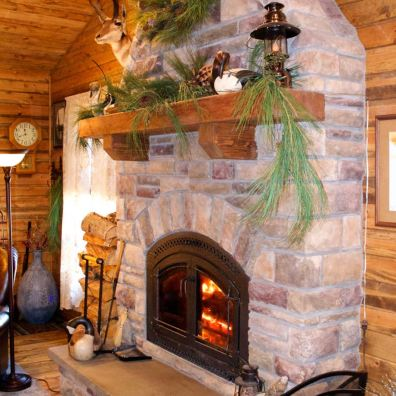 Custom fireplace and hearth.