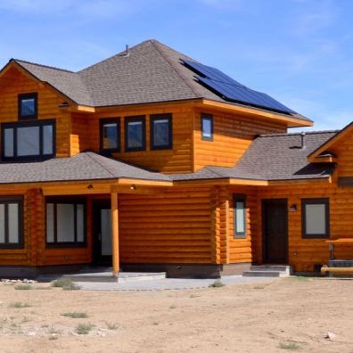 Kit log home with solar system.