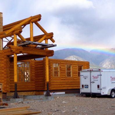 Kit log home under construction.