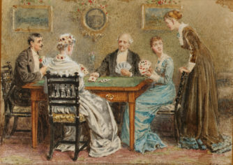 George_Goodwin_Kilburne_A_good_hand; card games; parlor games