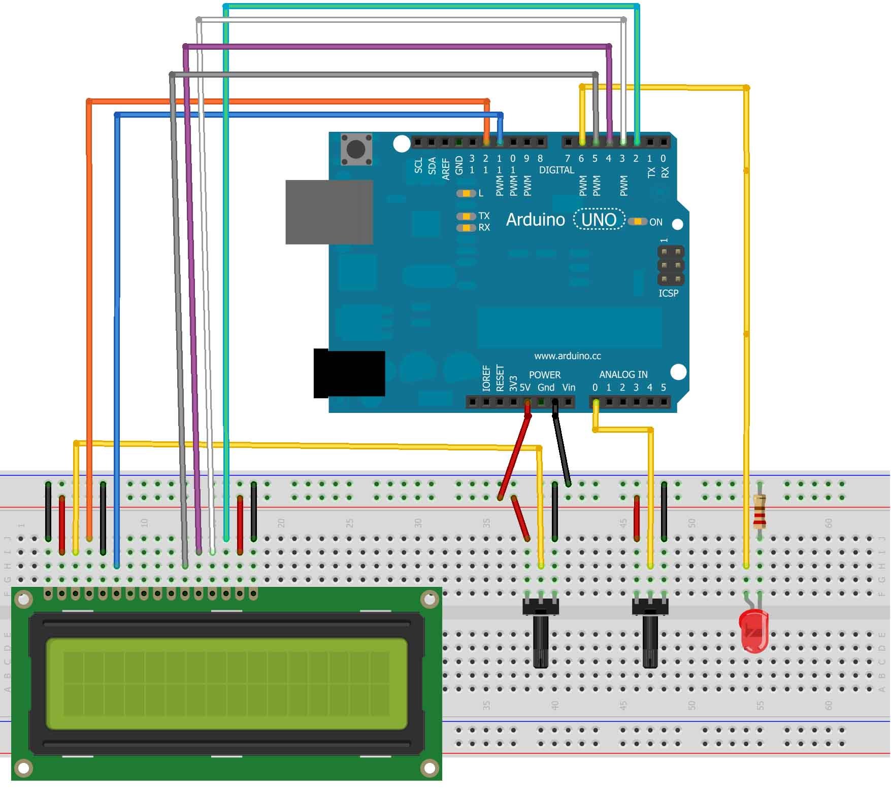 Arduino display the led brightness on a lcd