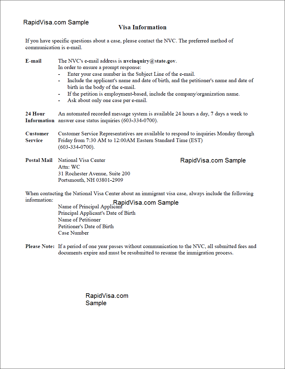 nvc cover letter