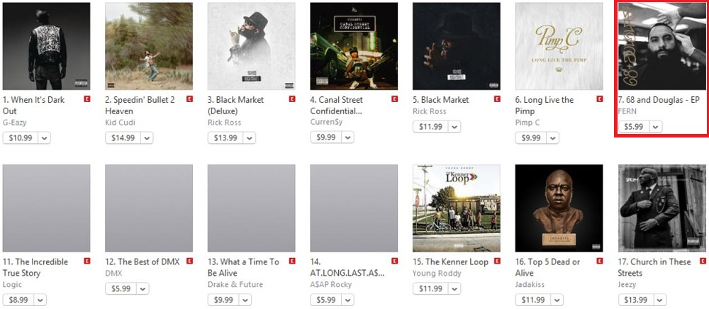 FERN\u0027s \u002768  Douglas\u0027 rises onto iTunes\u0027 Hip-Hop/Rap chart on