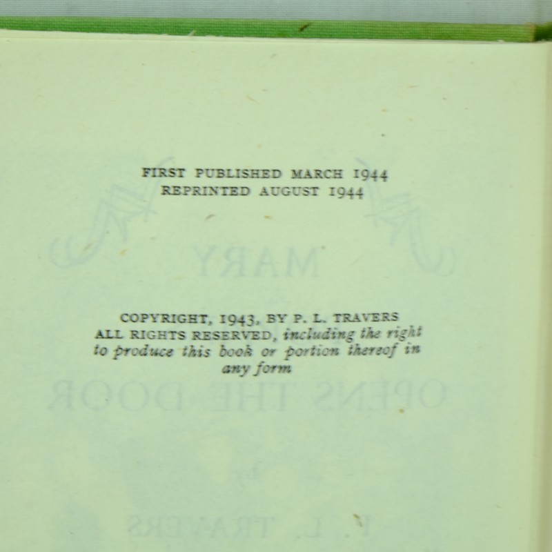 Mary Poppins Opens The Door by P L Travers Second Printing Rare - p-l form