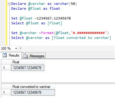 SQL SERVER \u2013 How to convert float to varchar SQL Server Portal