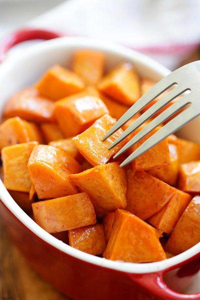 Honey Cinnamon Roasted Sweet Potatoes | Easy Delicious Recipes