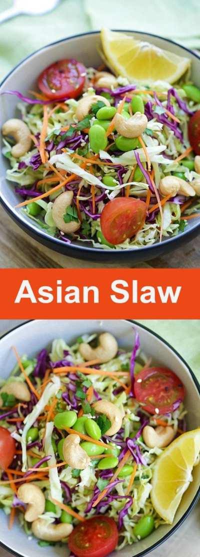 Asian Slaw Recipe With Soy Sesame Dressing | Rasa Malaysia