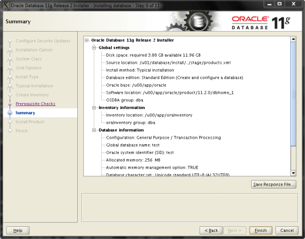 Oracle Install Step 9