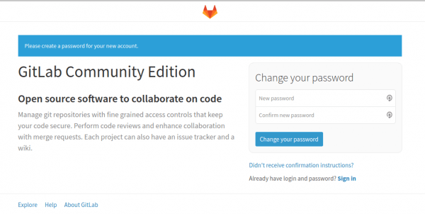 gitlab initial screen