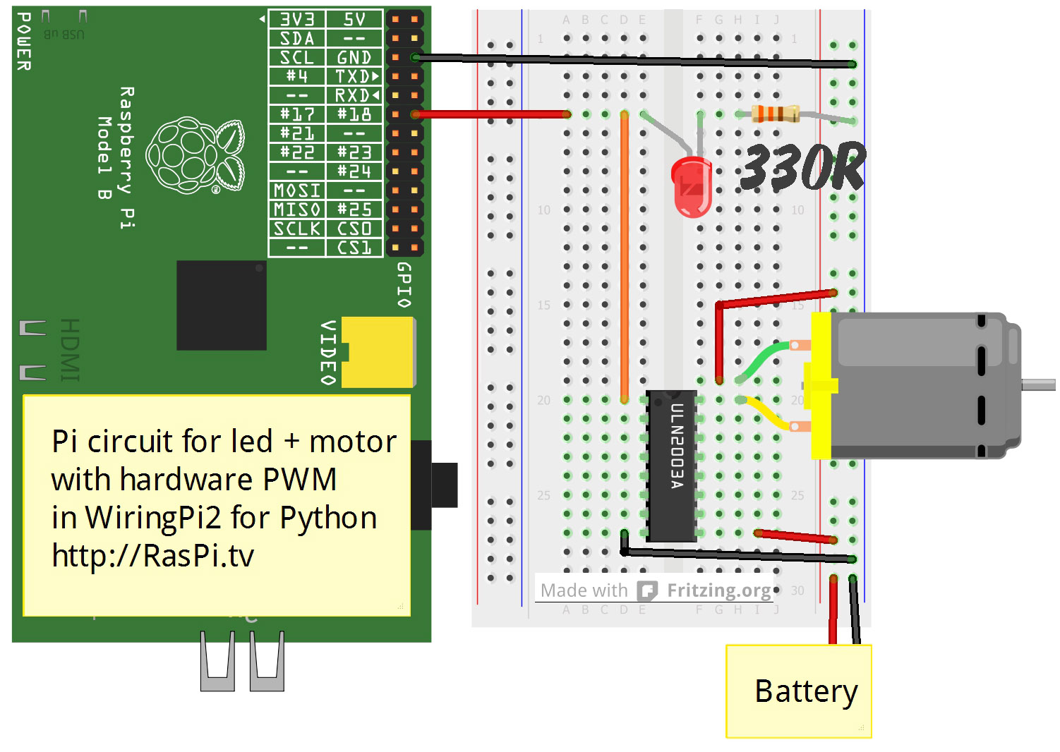 wiringpi pwm led with transistor