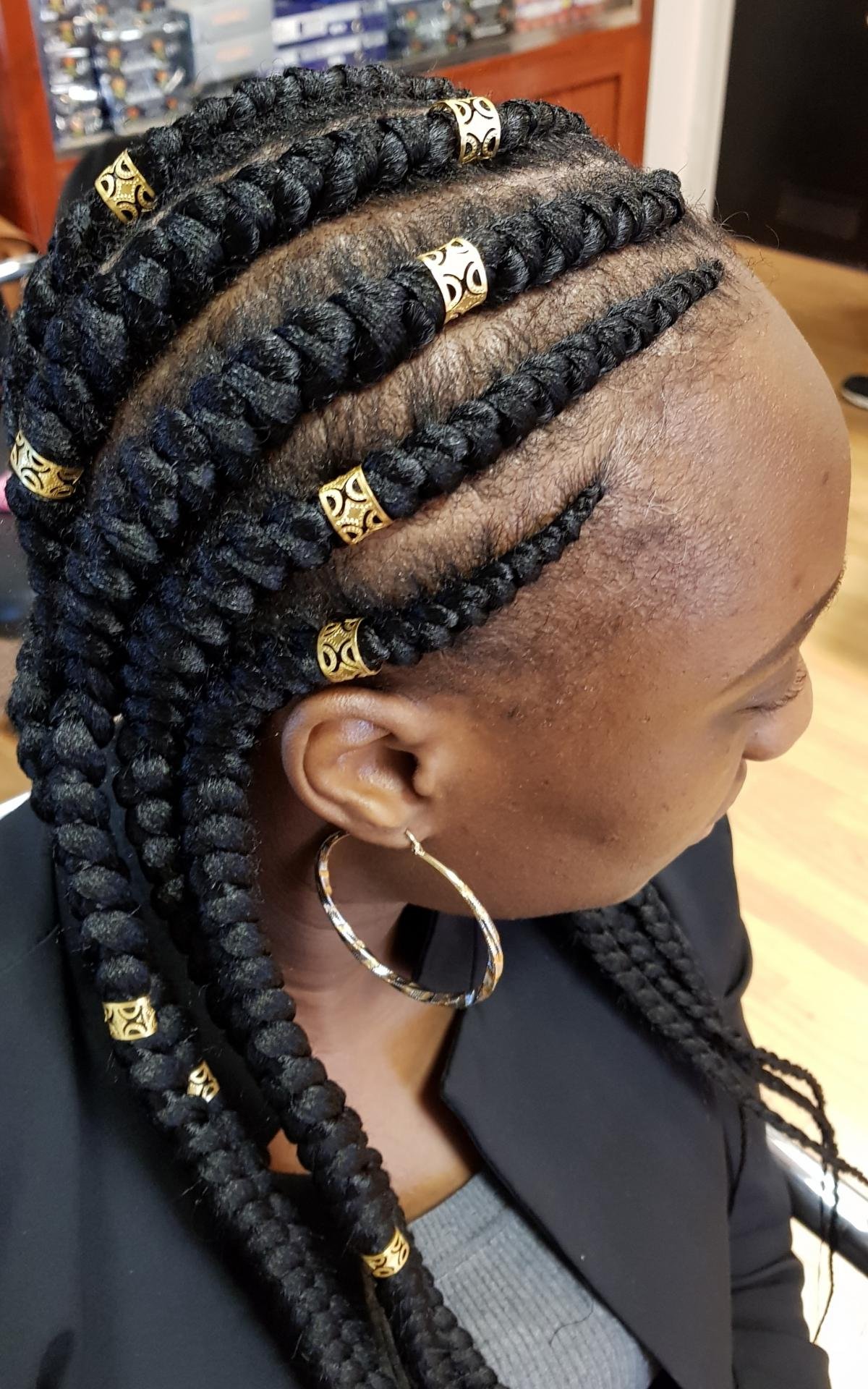 Coiffure Africaine Les Nattes Tresses Collées Tresses Africaines