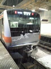 電車にも雪が…(2011年2月14日 午後8時撮影)