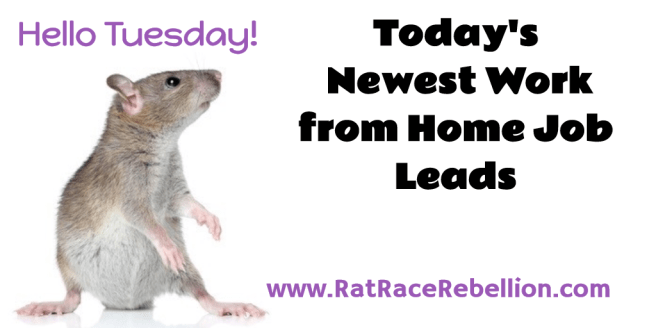 Tuesday's Newest Work from Home Job Leads
