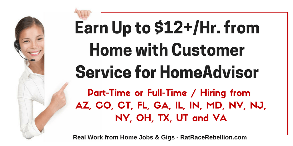 Earn Up to $12+/Hr. with Customer Service for HomeAdvisor
