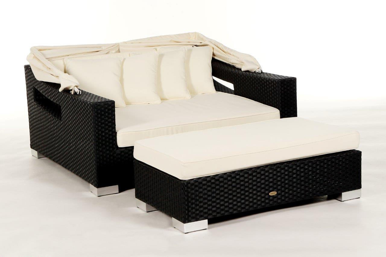 Polyrattan Bank Padded Bench For Rattan Beach Chair Sunbed