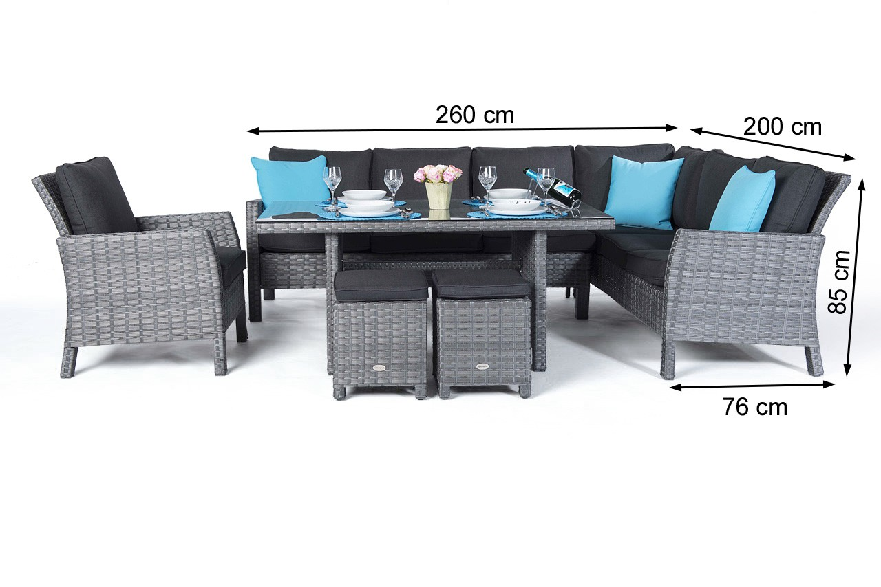 Dining Lounge Manchester Rattan Garden Furniture Dining Lounge In Mixed Grey