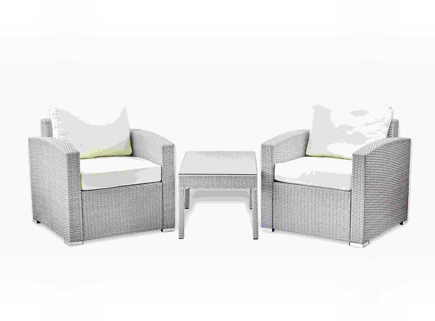 Lounge Set Rattan Patio 3 Pc Lounge Set Coffee Table Lounge Chairs Includes Square Table