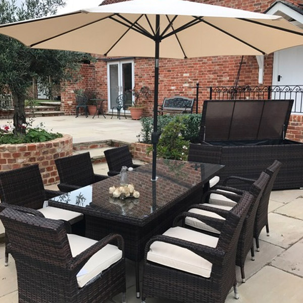 3 Seater Rattan Sofa Brown 8 X Savannah Armchairs 2.0mtr Rect Table Set In Black
