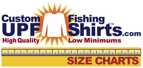 Fishing Shirt Size Chart for all Rattlin Jack Mens UPF 50+ Long Sleeves