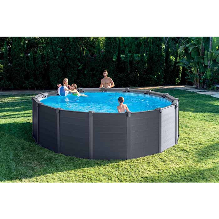 Piscine Raviday Piscine Intex Graphite 4,78 X 1,24 - Piscine Tubulaire Ronde