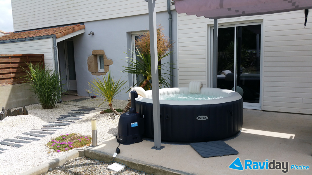 Piscine Raviday Spa Gonflable 6 Places Intex Pure Spa Plus Bulles Bleu