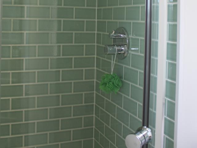 Ensuite shower fired earth limehouse retro metro tiles
