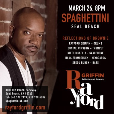 Rayford Griffin To perform Reflections of Brownie