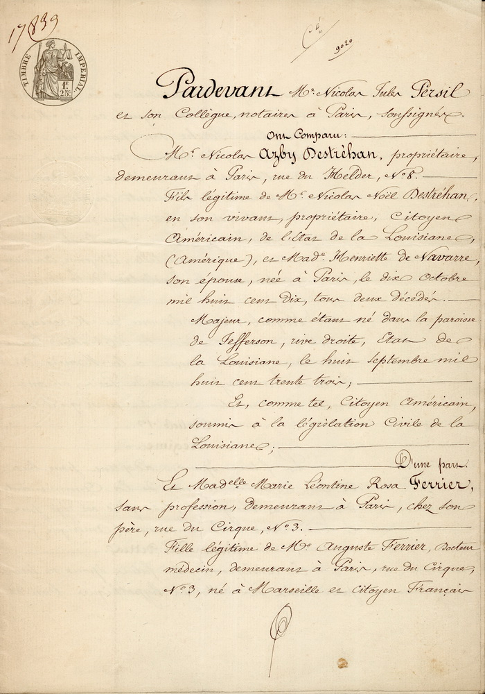 Marriage Contract (French) Page 1 of 15 Stewart - de Jaham Family - marriage contract