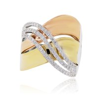 18k Tri Gold Diamond Crossover Ring 0.57ct Round Diamonds