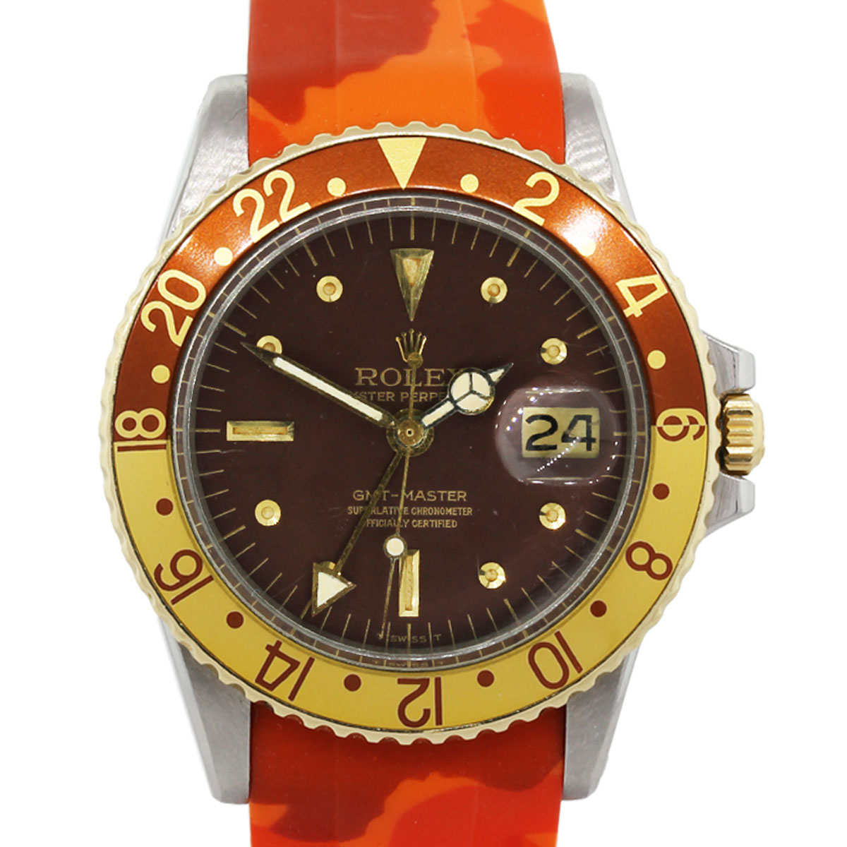 Rolex Rubber Rolex 1675 Gmt Root Beer Orange Camo Rubber Strap Stainless Steel Vintage Watch
