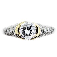 1Ct Round Diamond Engagement Ring Bezel Set Platinum 18K Gold