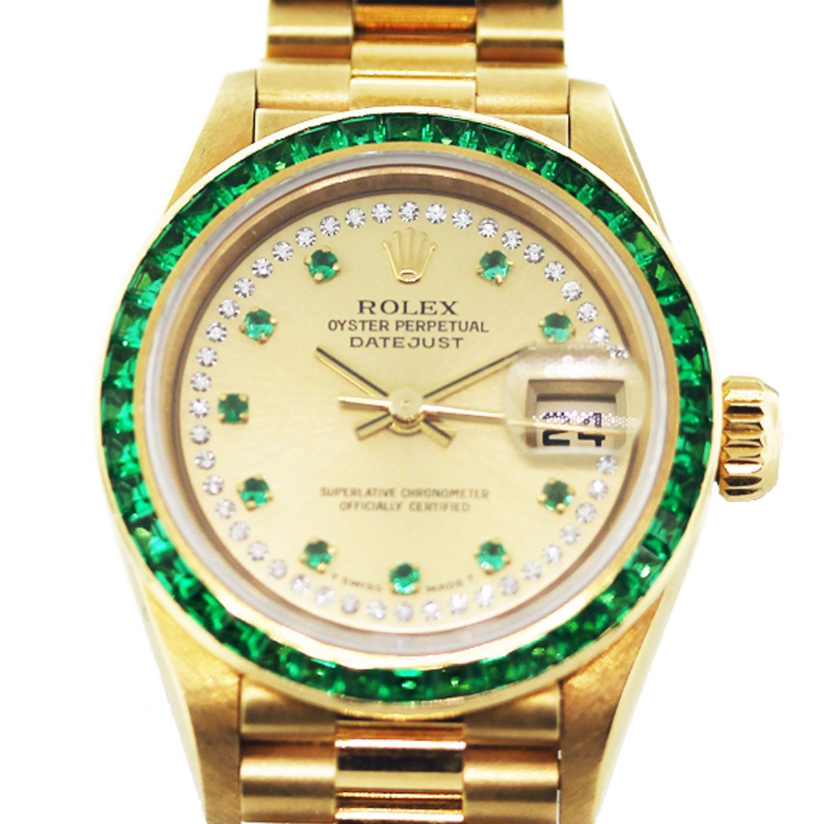 Diamond Watch Rolex Datejust 69108 18k Gold Emerald And Diamond Watch