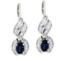 14K White Gold Sapphire and Diamond Drop Earrings Boca Raton