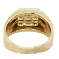 18K Yellow Gold Diamond Square Grid Mens Ring