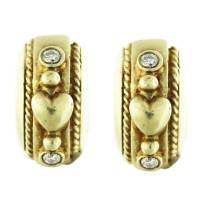 14k Yellow Gold Diamond Heart Huggie Earrings Boca Raton ...