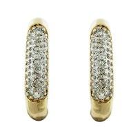 10k Yellow Gold Pave Diamond Huggie Earrings Boca Raton