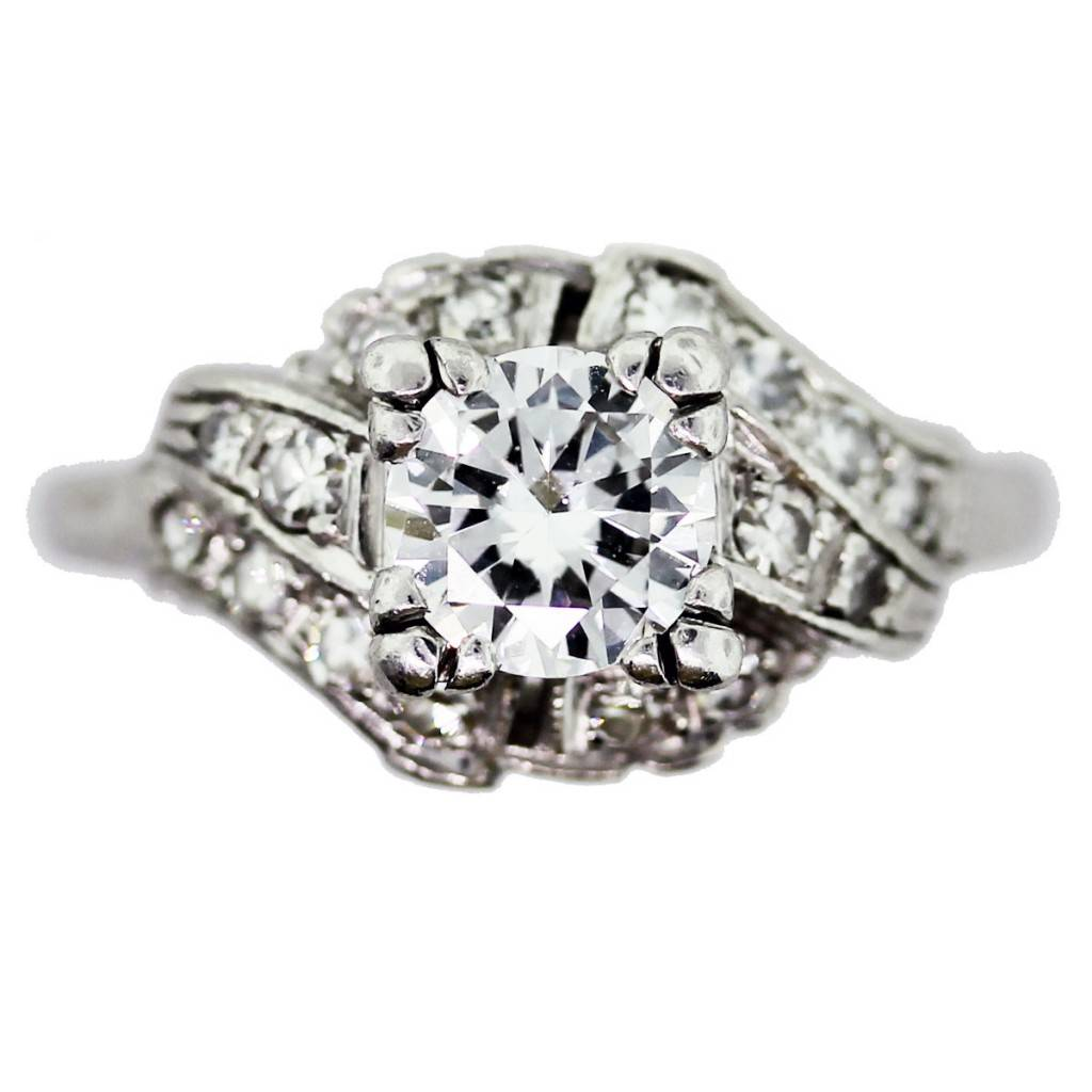 wedding nail ideas antique wedding ring Vintage Diamond Engagement Ring in Antique Platinum Setting 1ct