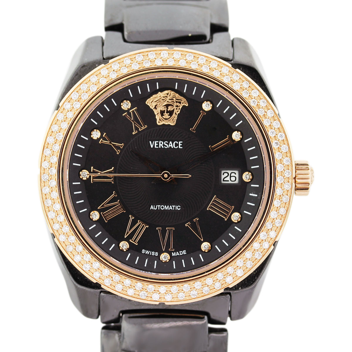 Diamond Watch Versace Black Ceramic And Rose Toned Diamond Mens Watch