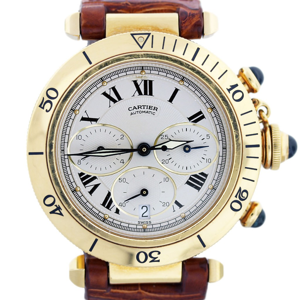 Gold Chronograph Cartier Pasha 38mm Yellow Gold Chronograph Watch W3014051