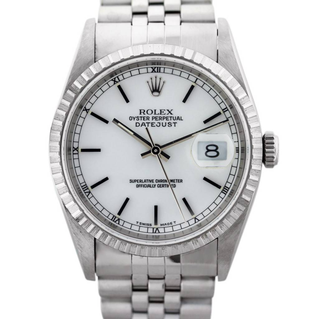 Steel Rolex Stainless Steel Rolex Datejust 16220 White Dial Mens Watch