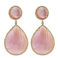 Pink Mother of Pearl Diamond Earrings - Raymond Lee Jewelers